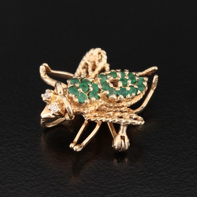 10K Yellow Gold Emerald and Diamond Bumble Bee Converter Brooch