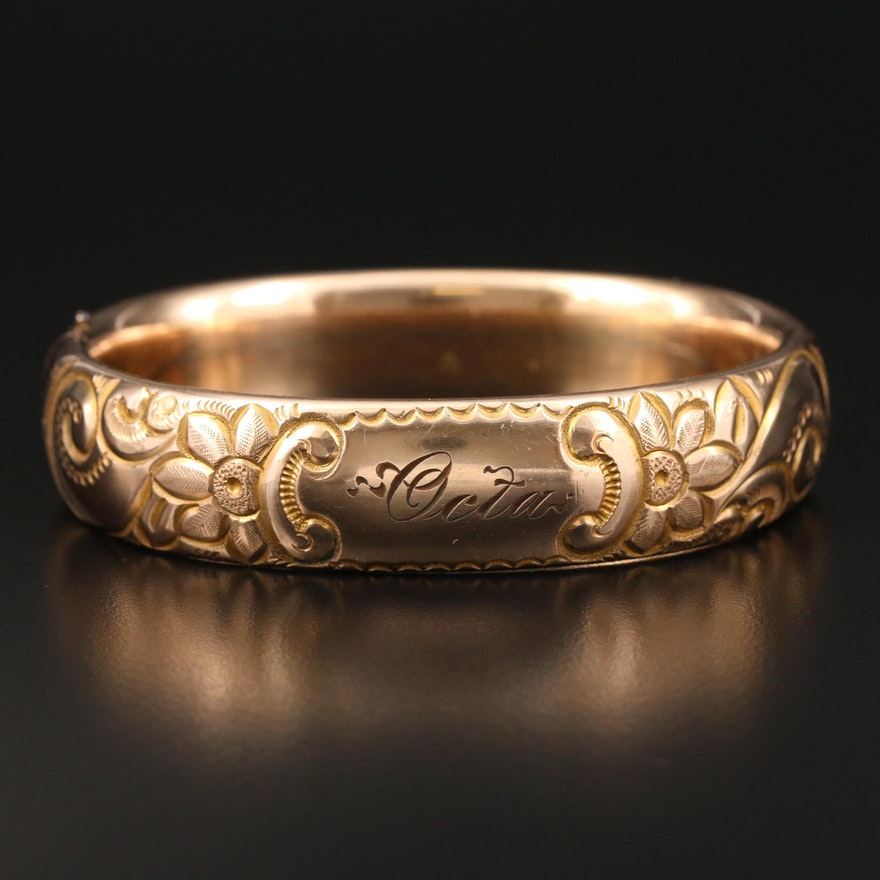1900s Engraved Metal Bangle