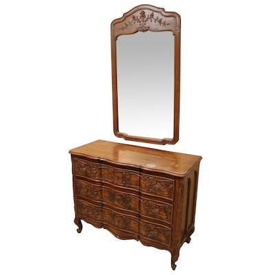 Henredon French Provincial Style Oak Dresser and Mirror, Late 20th Century