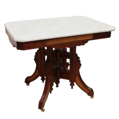 Victorian Eastlake Walnut Marble Top Side Table, Late 19th Century