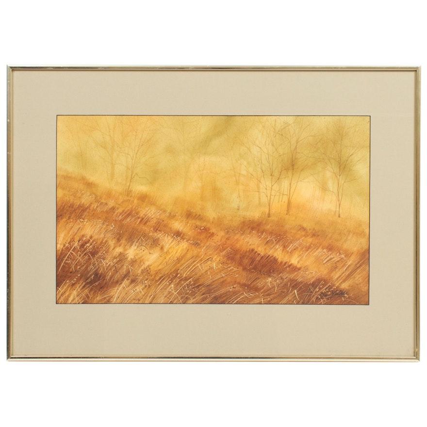 """Jim Walker Watercolor Painting """"Misty Glenn"""""""