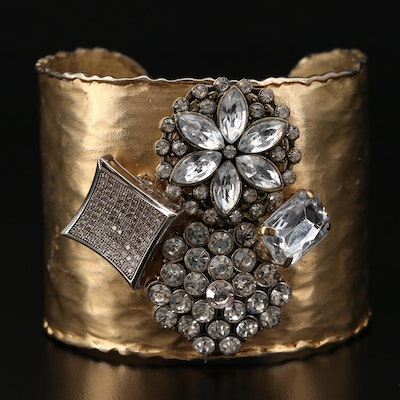 Pam McMahon Rhinestone Cuff with 800 Silver Accent