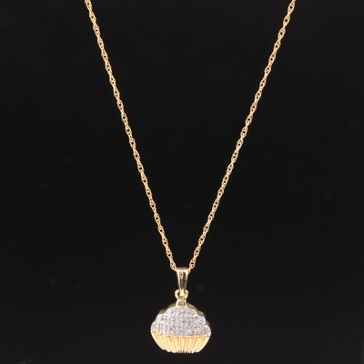 10K Yellow Gold Diamond Cupcake Pendant Necklace
