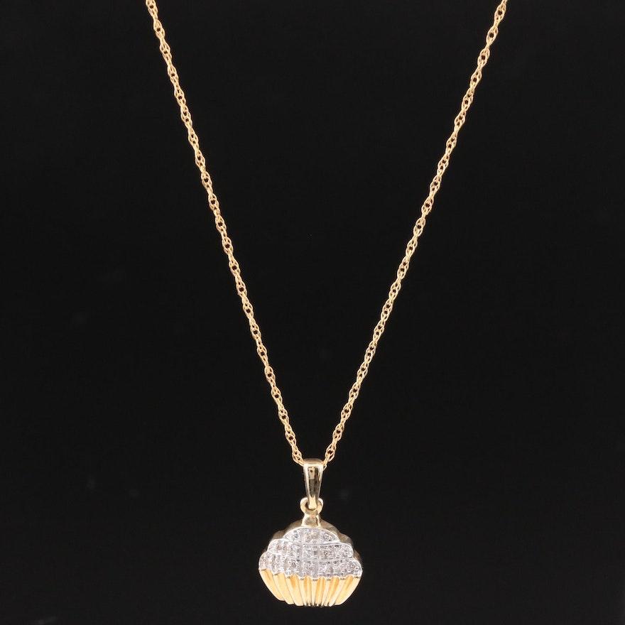 10K Yellow Gold Diamond Cupcake Pendant Necklace