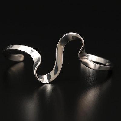 Sterling Silver Wave Cuff Bracelet