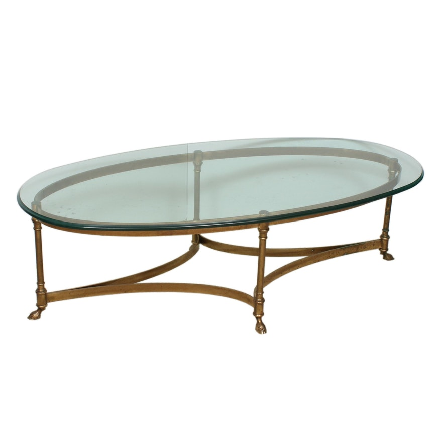 Brass Hoof-Footed Glass Top Coffee Table