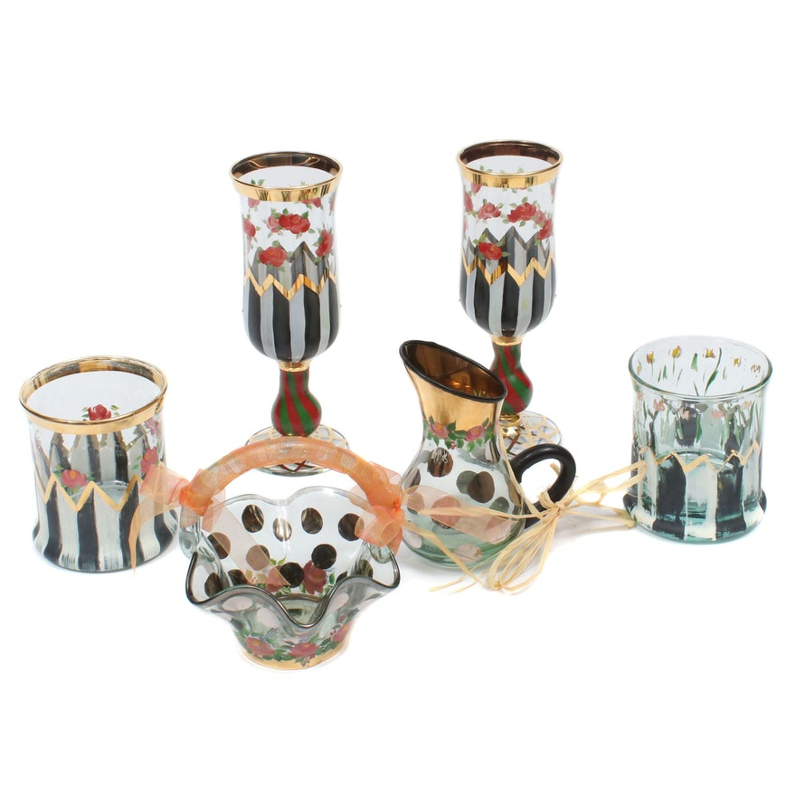 """MacKenzie-Childs """"Circus"""" Stemware and Other Table Accessories"""