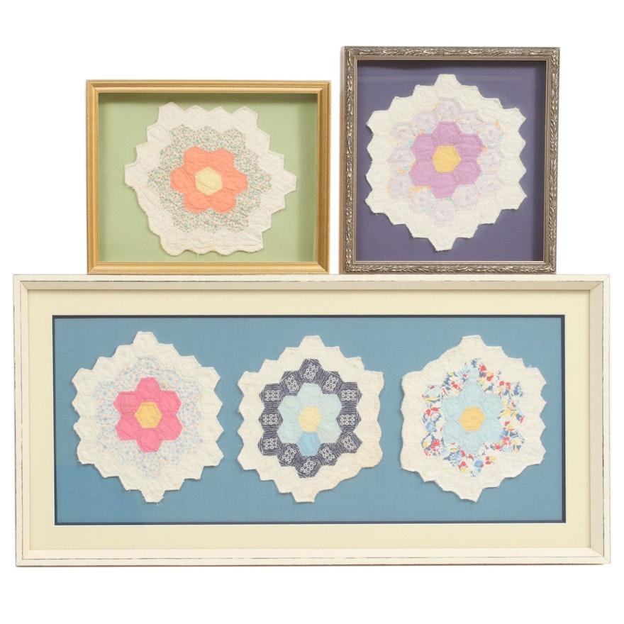 "Framed Antique ""Flower Garden"" Quilt Sections"
