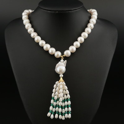 Sterling Pearl and Chalcedony Tassel Necklace Featuring Center Flame Pearl