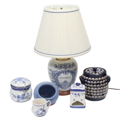 Tobacco Jar Style Table Lamp with Other Blue and White Earthenware