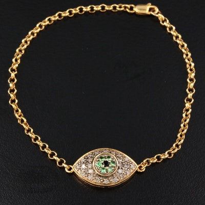 10K Yellow Gold Sapphire, Diopside and Diamond Evil Eye Bracelet