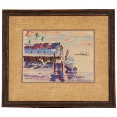 Emmett John Fritz St. Augustine Seascape Watercolor Painting, 20th Century