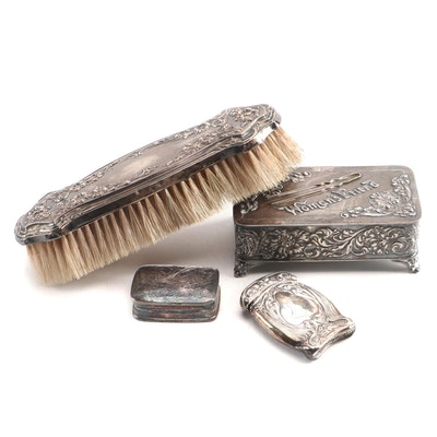 Pairpoint Mfg. Co. Silver Plate Pin Box and Other Vanity Items