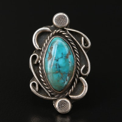 Southwestern Sterling Silver Turquoise Ring with Swirling Wind Applique