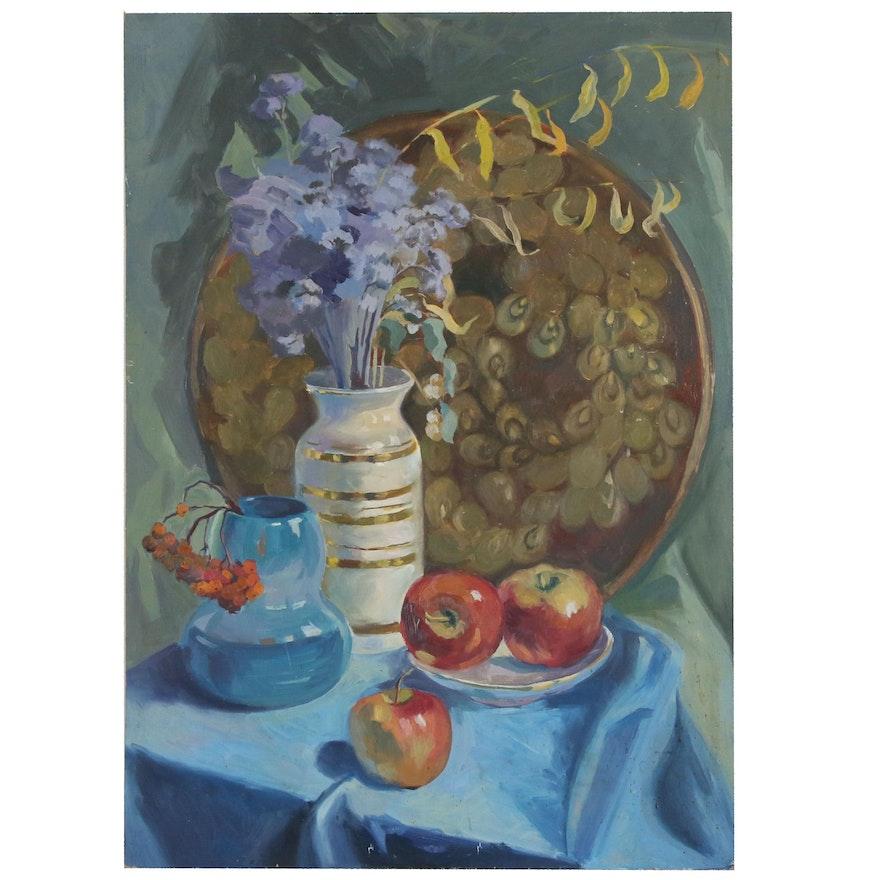 "Svetlana Gribtsova Still Life Oil Painting ""Flowers, Mountain-Ash, Apples"", 1991"