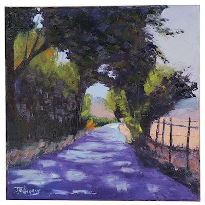 """James Baldoumas Oil Painting """"Shady Lane"""", 2020"""