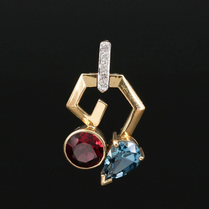 18K Gold Rhodolite Garnet, Topaz and Diamond Geometric Pendant