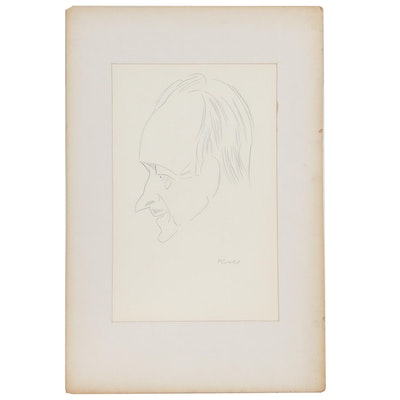 "Julius Kroll Pastel Caricature Drawing ""David Niven"", Mid-20th Century"