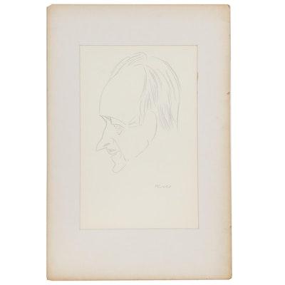 "Julius Kroll Pastel Caricature Drawing ""David Niven"", Mid-20th Century"