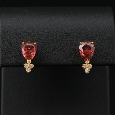 14K Yellow Gold Tourmaline and Diamond Stud Earrings