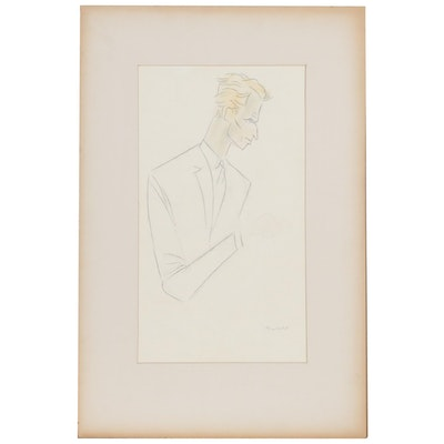 "Julius Kroll Pastel Caricature Drawing ""Charlton Heston"", Mid-20th Century"