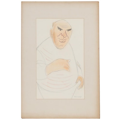 Julius Kroll Pastel Caricature Drawing, Mid-20th Century