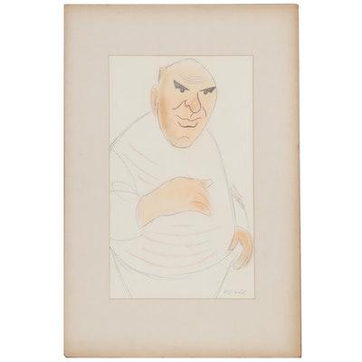 Julius Kroll Pastel Caricature Drawing, Mid-20th Century