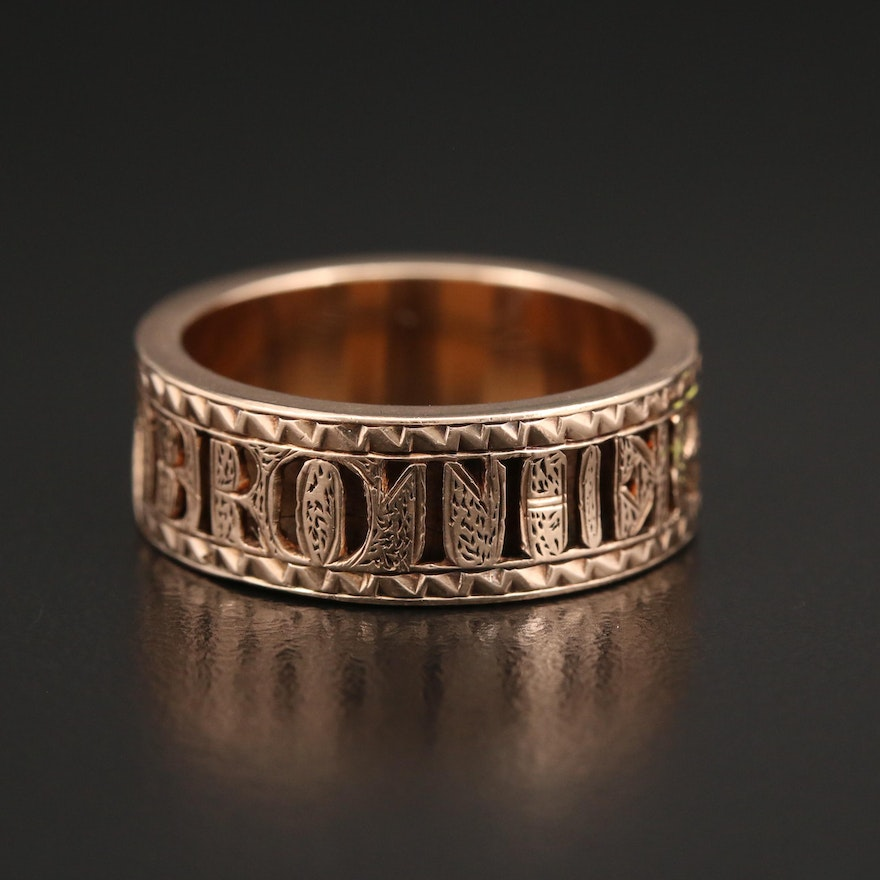 """Victorian 14K Yellow Gold """"Brother"""" Mourning Ring with Vintage Box"""