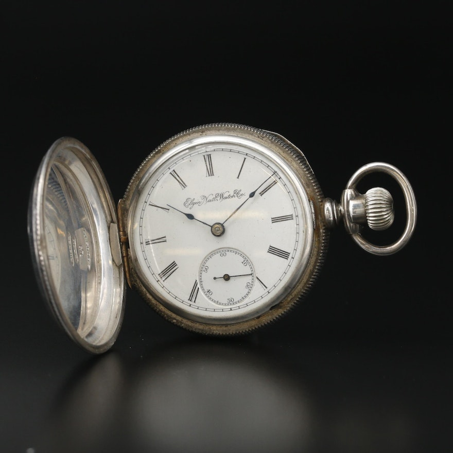 1895 Elgin Coin Silver Hunting Case Pocket Watch