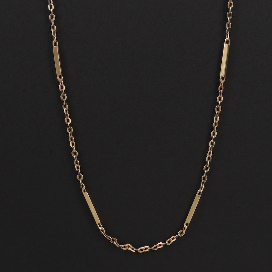14K Bar Station Chain Necklace