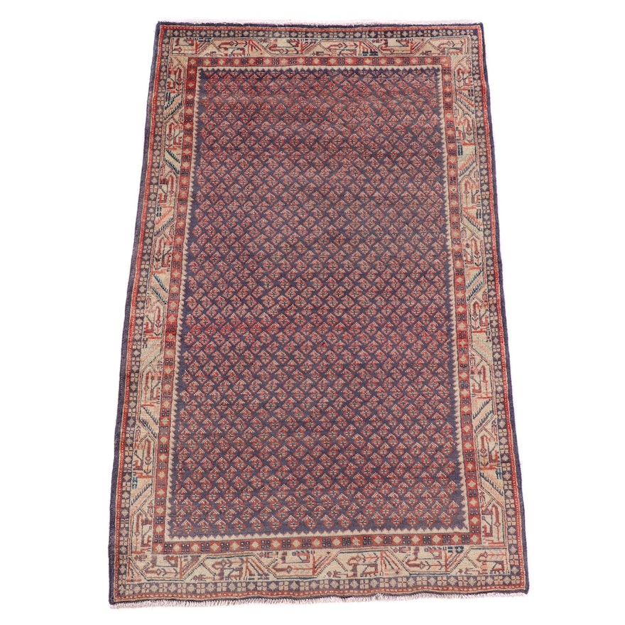 4'0 x 6'11 Hand-Knotted Persian Mir Serabend Wool Rug