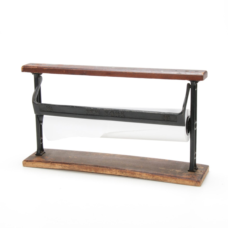 Wood and Cast Iron Paper Roll Cutter