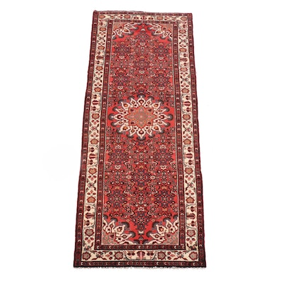3'7 x 10'0 Hand-Knotted Persian Hamadon Wool Long Rug