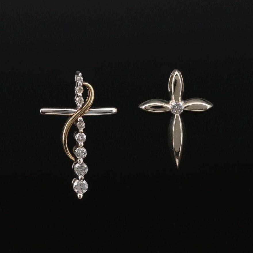 14K Gold Diamond Cross Pendants