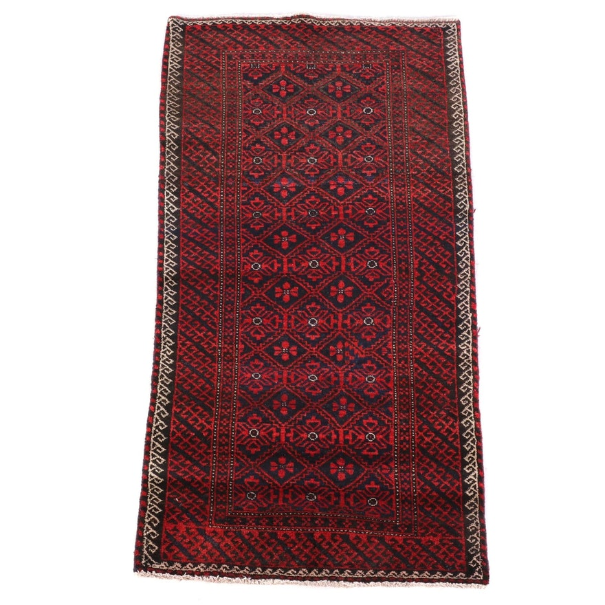 3'0 x 5'11 Hand-Knotted Afghani Baluch Wool Rug