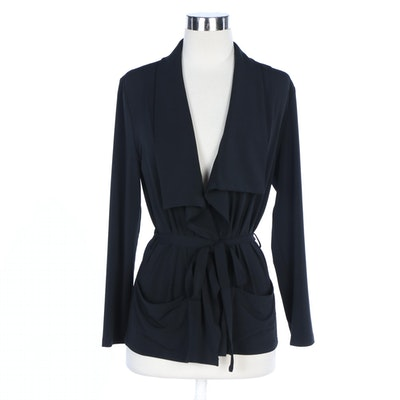 J. Peterman Black Pied-á-terre Wrap Jacket