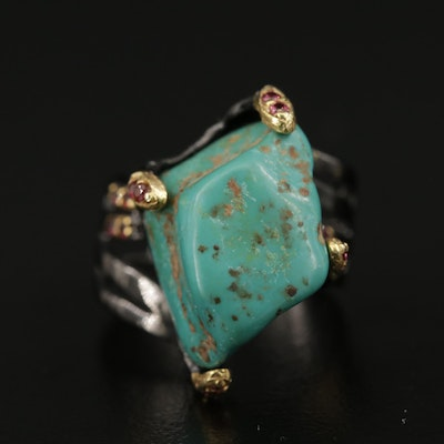 Sterling Silver and Turquoise Nugget Ring