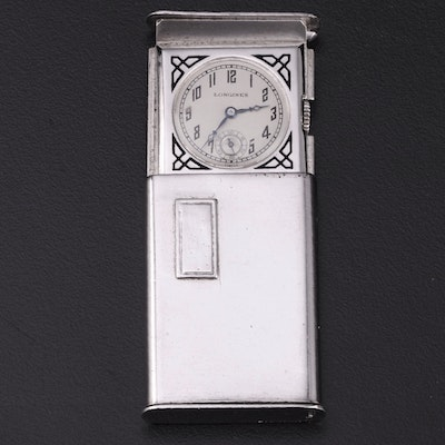 Longines Art Deco Sterling Silver Purse Watch with Second Dial