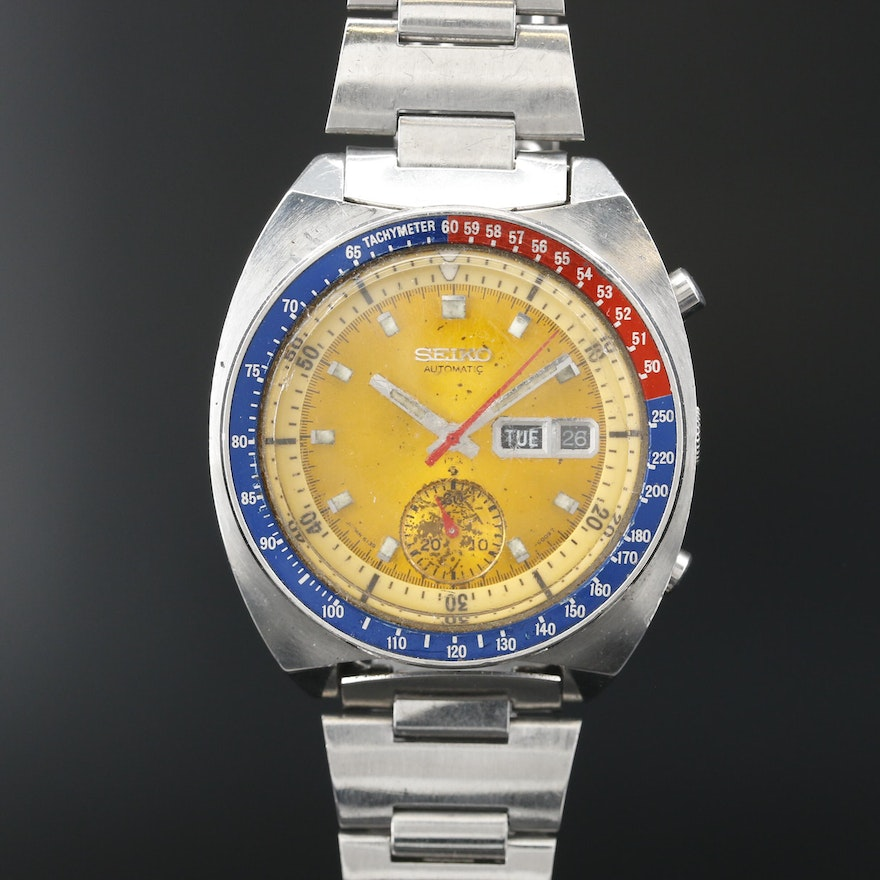 """Seiko """"Colonel Pogue"""" Stainless Steel Chronograph Automatic Wristwatch"""