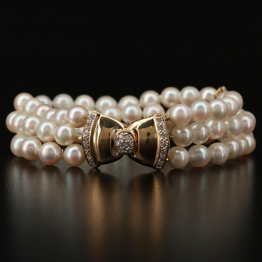 18K Gold Multi-Strand Pearl and Diamond Bracelet