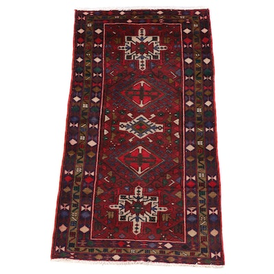 3'8 x 6'9 Hand-Knotted Persian Karaja Wool Rug