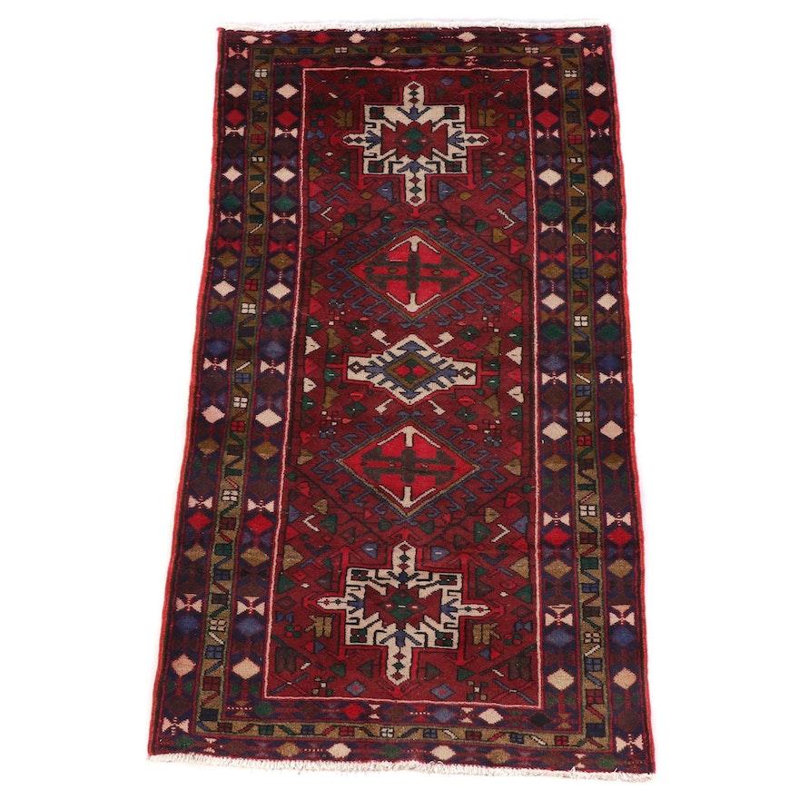 3'8 x 6'9 Hand-Knotted Persian Karaja Wool Rug
