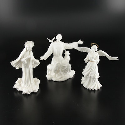 "Boehm ""Queen of Peace"" and Other Religious Bisque Porcelain Figurines"