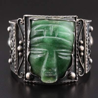 Mexican Sterling Silver and Carved Calcite Hinged Bracelet