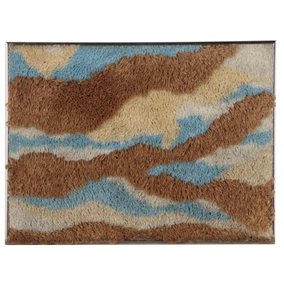 Sculpted-Pile Knotted Wall Rug, Late 20th Centruy