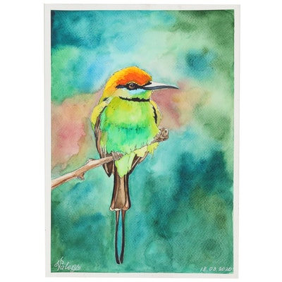 Valery Andreeva Watercolor Painting of Hummingbird