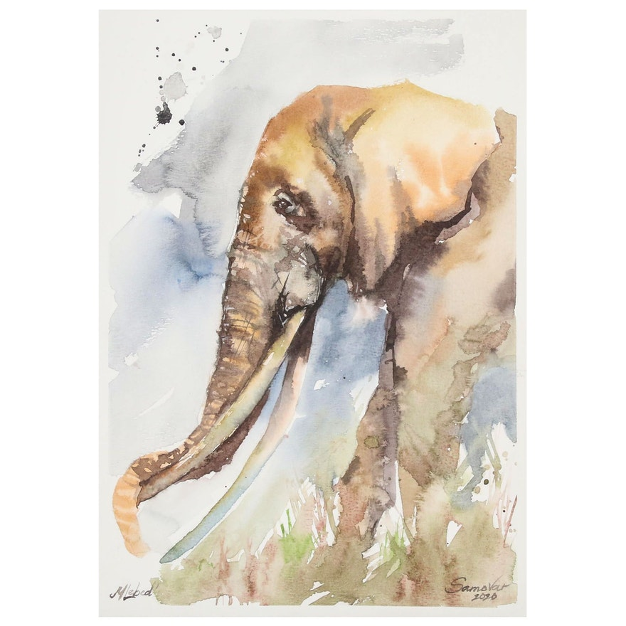 Marina Lebed Watercolor Painting of Elephant