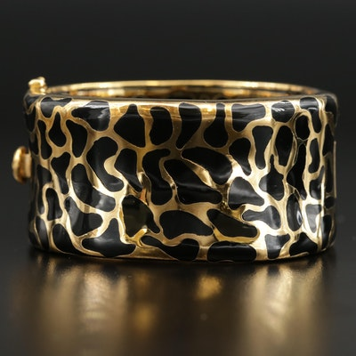 "Angelique de Paris Sterling ""Safari"" Enamel Oval Hinged Bangle Bracelet"