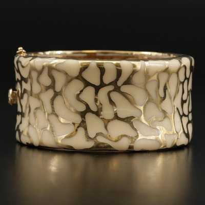 "Angelique de Paris ""Safari"" Sterling Silver and Enamel Hinged Bangle Bracelet"