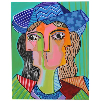 "Michel Blázquez Abstract Acrylic Painting ""Woman with Blue Hat"", 2020"